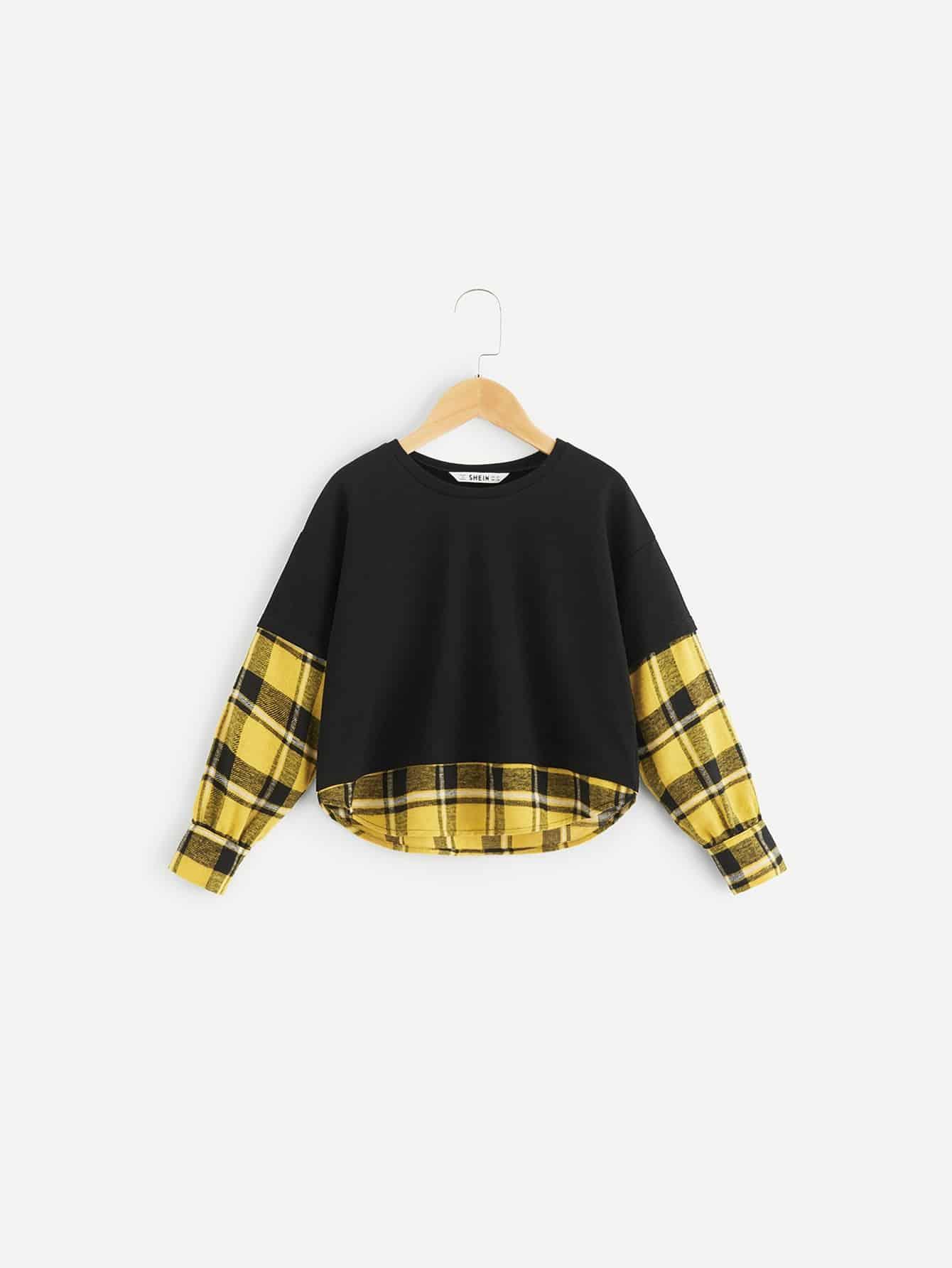 Купить 2 в 1 клетчатая футболка с выгнутым подолом для девочек, null, SheIn