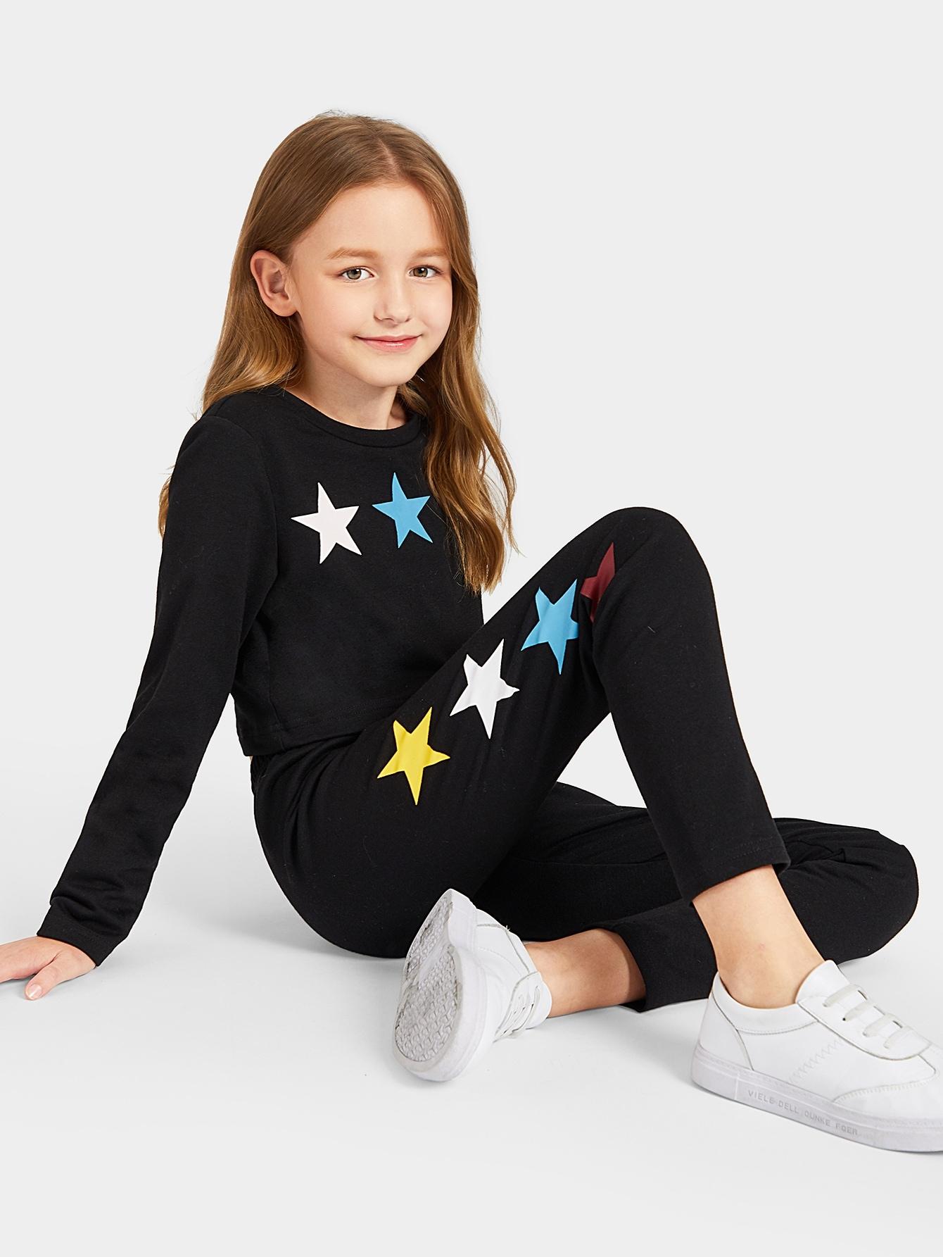 Купить Топ с принтом и спортивные брюки комплект для девочек, Dariab, SheIn