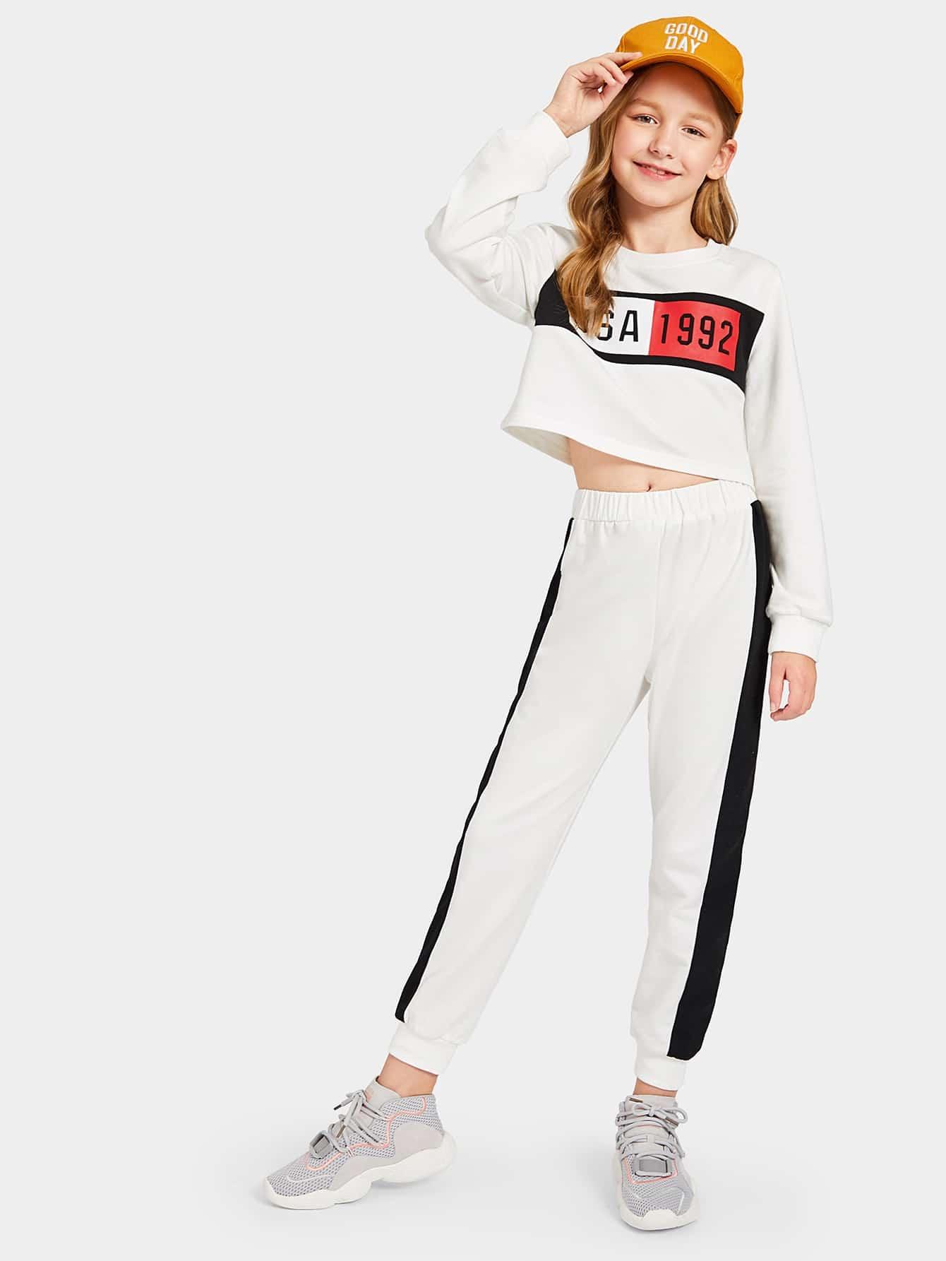Купить Топ с текстовым принтом и спортивные брюки комплект для девочек, Dariab, SheIn