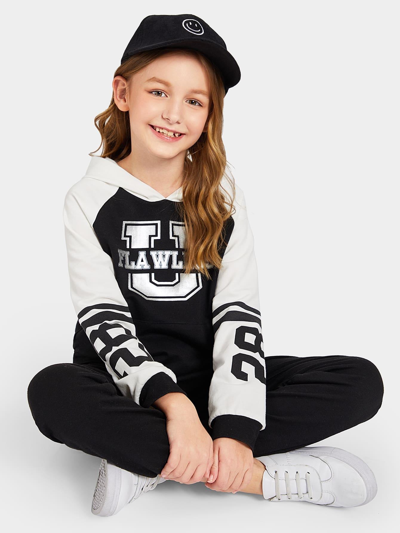Купить Толстовка с текстовым принтом и спортивные брюки комплект для девочек, Dariab, SheIn