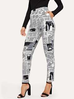 Newspaper Print Slant Pocket Pants