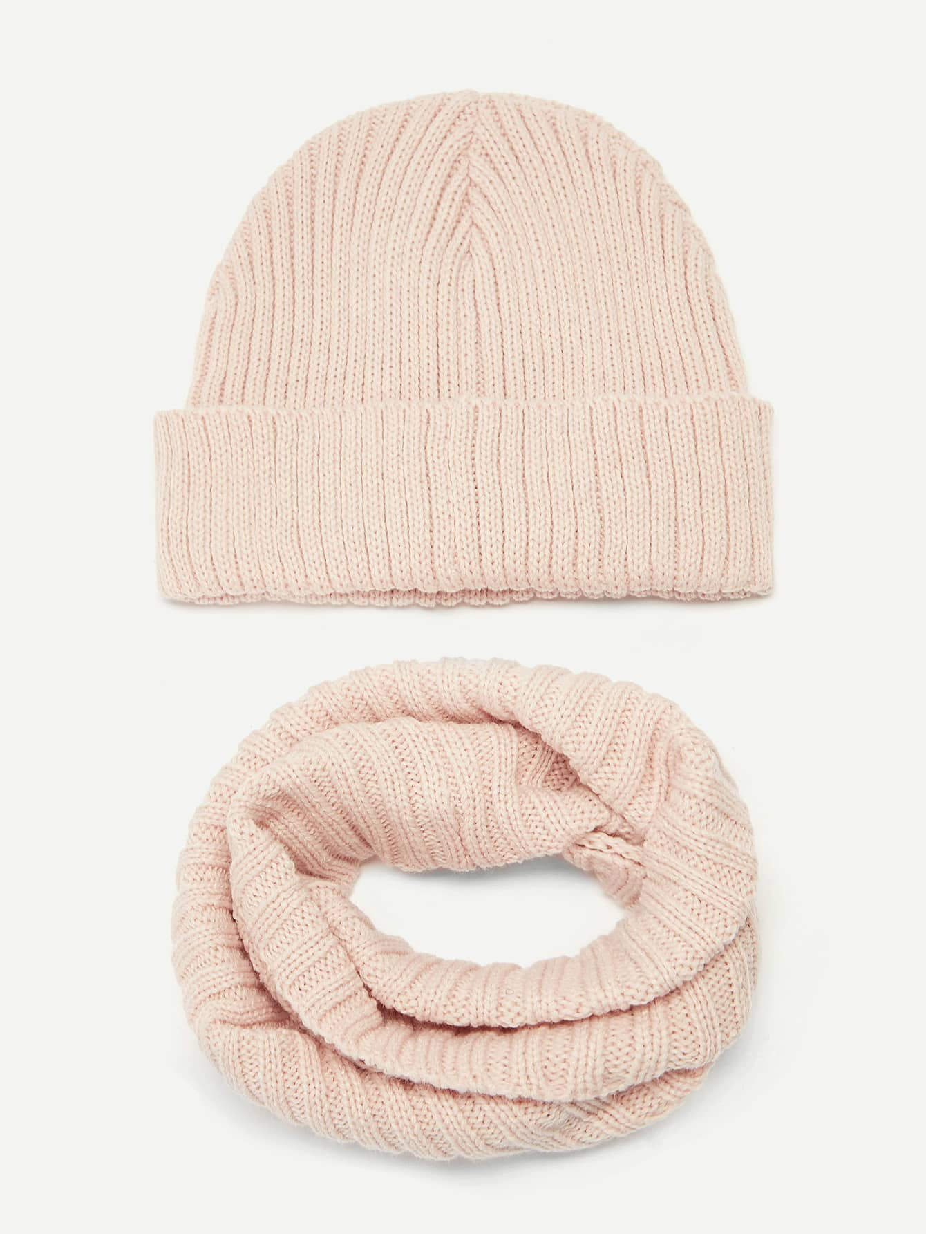 Купить Вязаный берет и бесконечный шарф 2 шт для девочек, null, SheIn