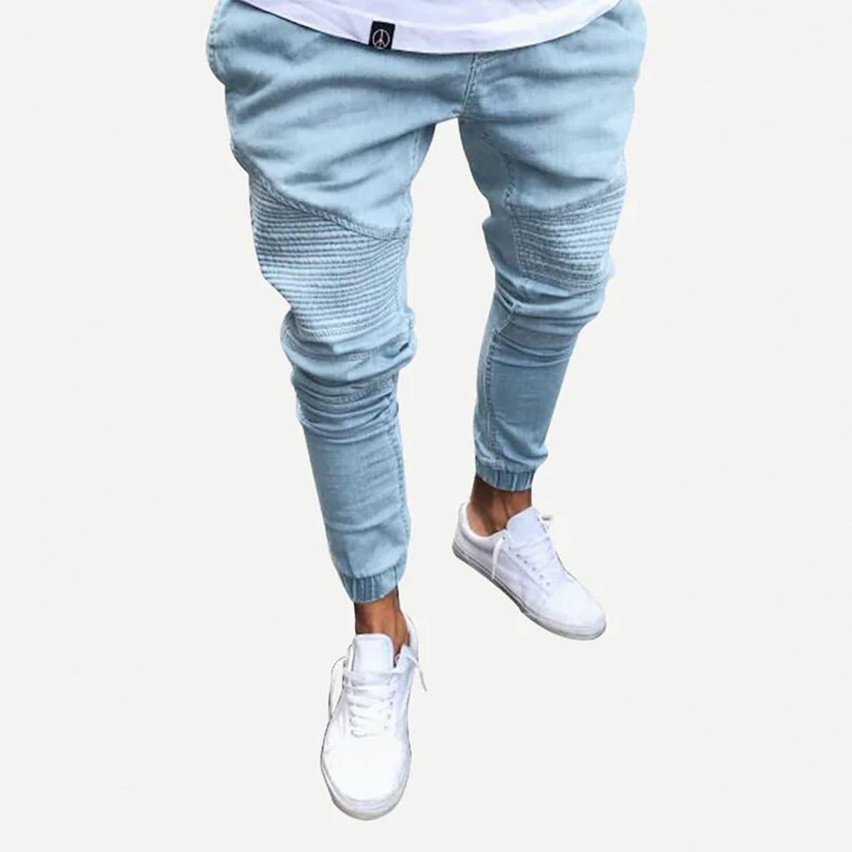 Gebleekte jeans met geribd detail