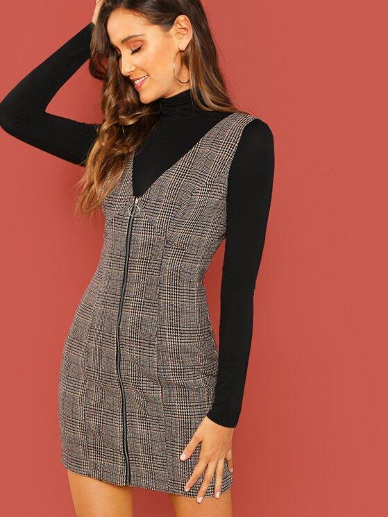 dbc628bb04b6c Zipper Up Glen Plaid Pinafore Dress | MakeMeChic.COM