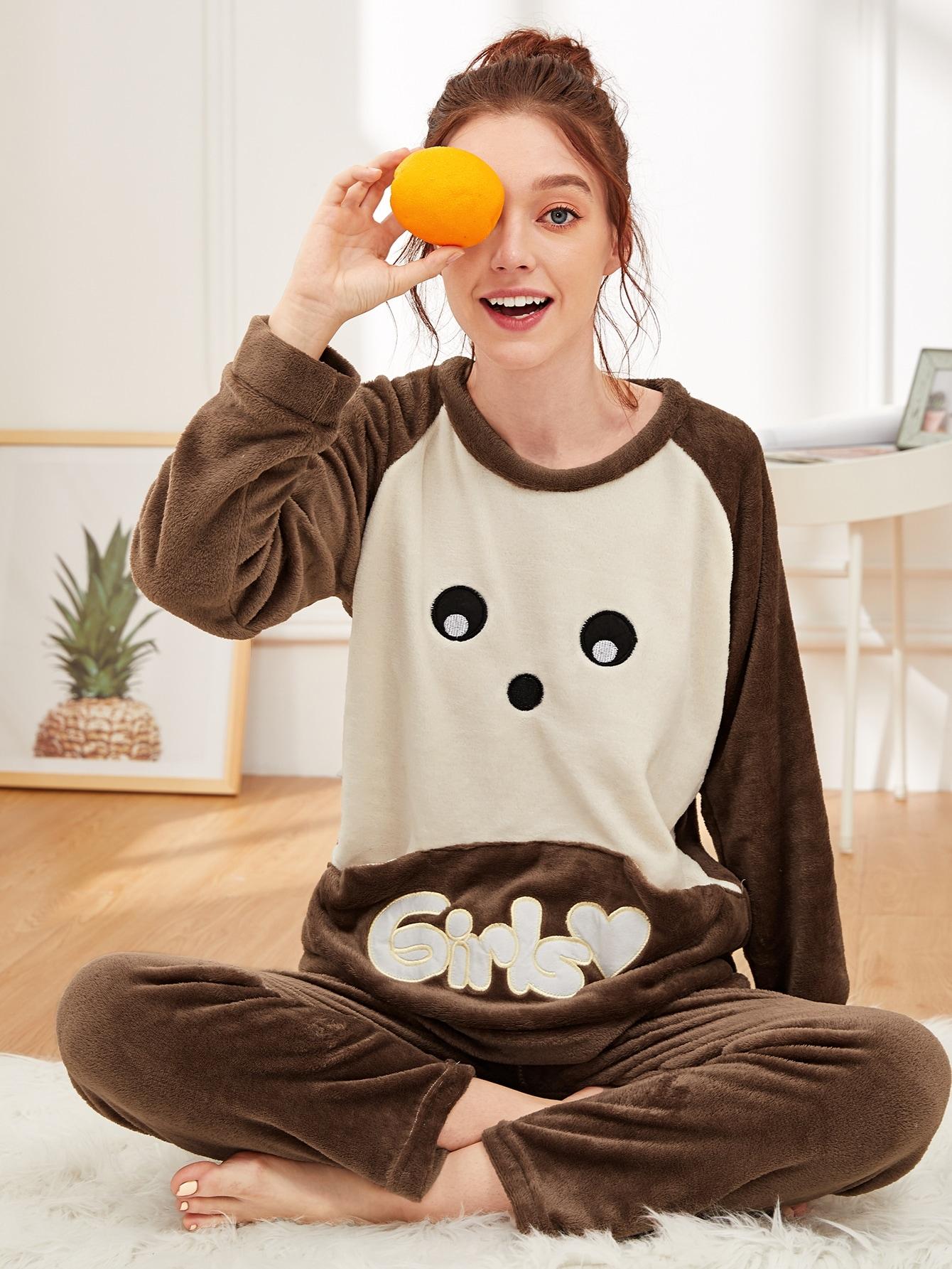 Купить Пушистая пижама комплент с мультяшным принтом, Poly, SheIn