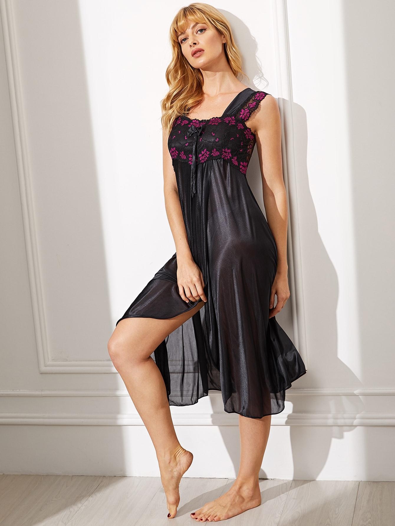 Купить Атласное вечернее платье с узелом и цветочным кружевом, Masha, SheIn