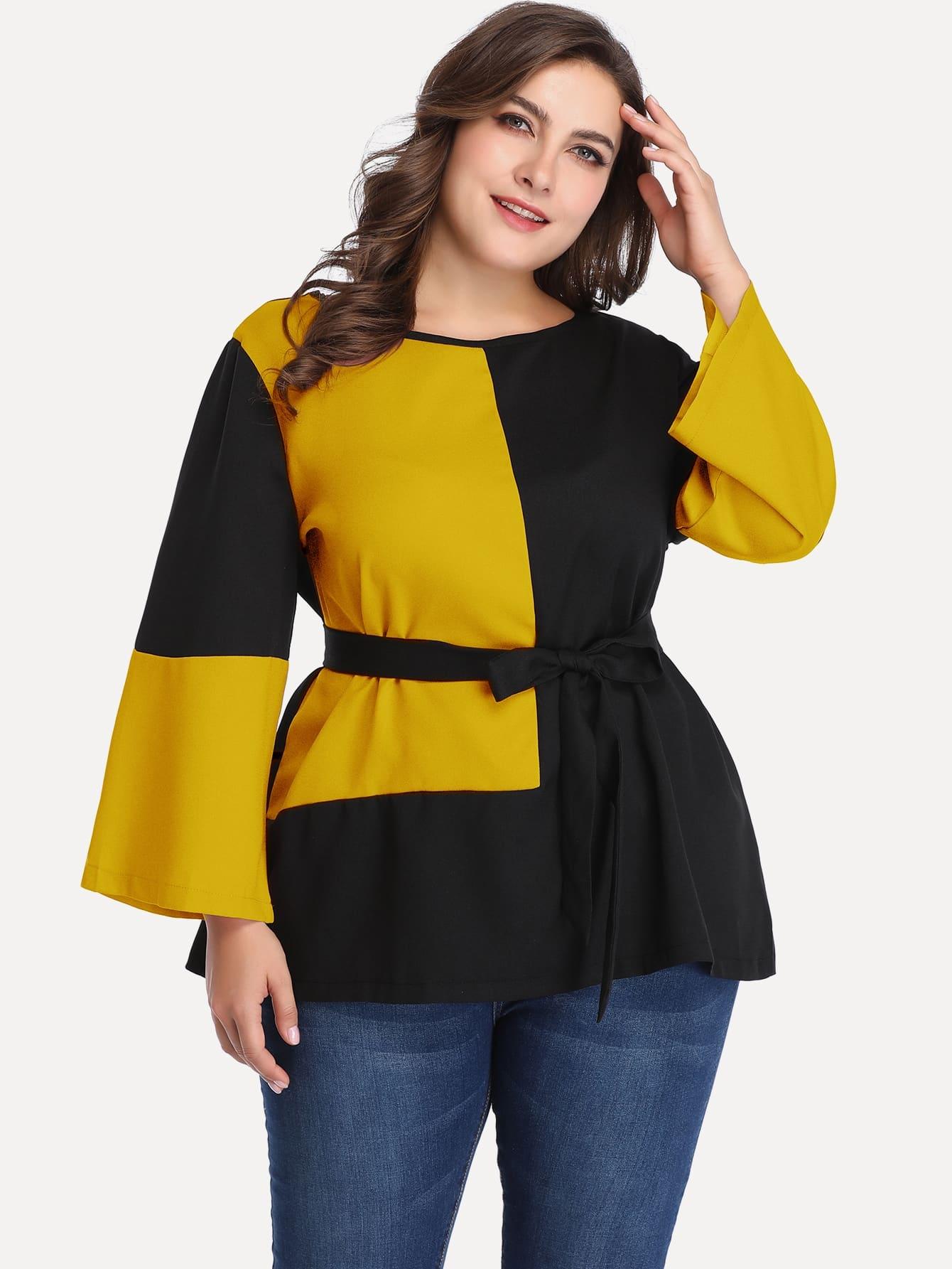 Купить Размера плюс контрастная плоская блуза с поясом на талли, Franziska, SheIn