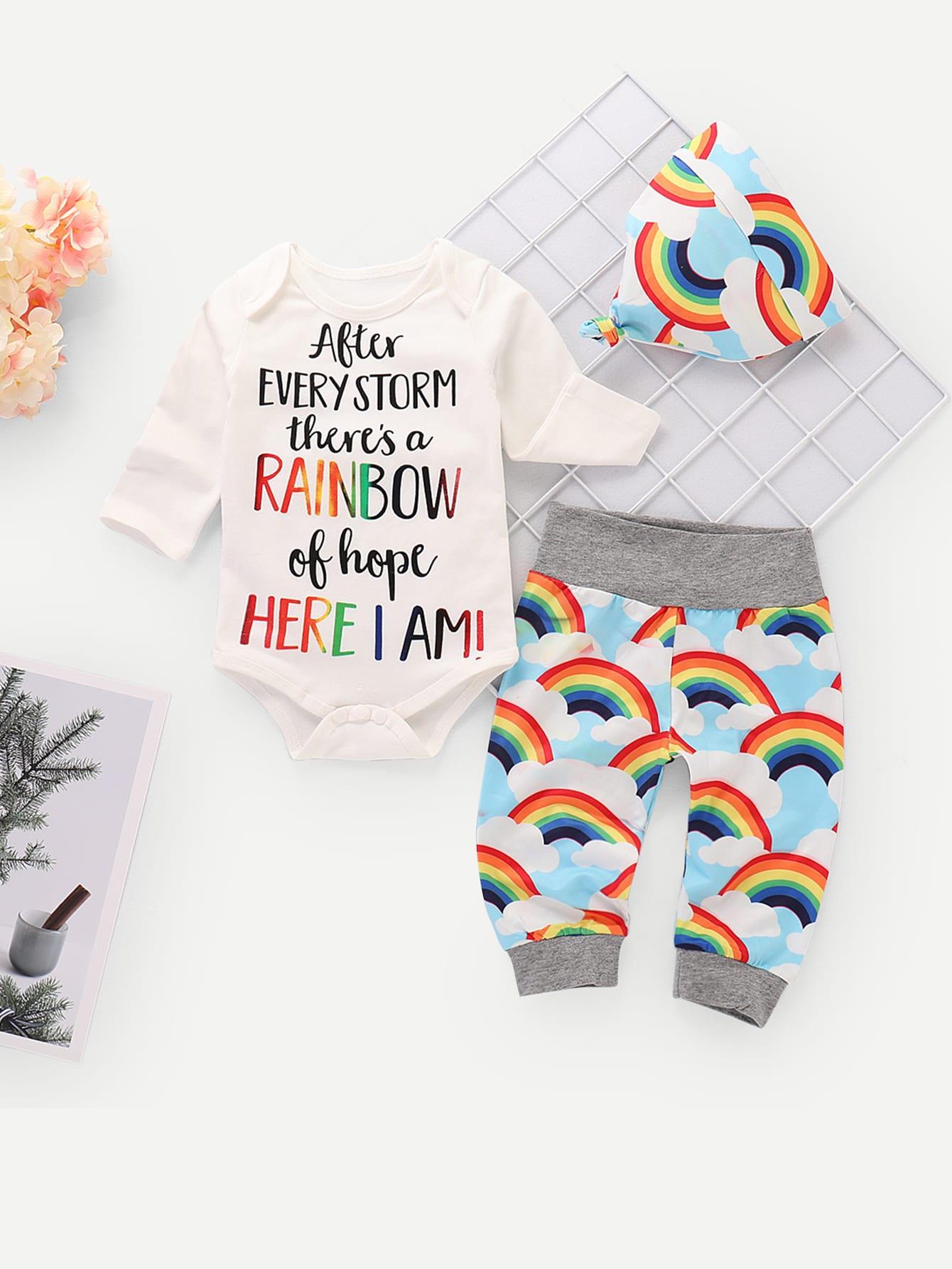 Купить Комбинезон с текстовым принтом и брюки с принтом радуг для маленьких мальчиков, null, SheIn