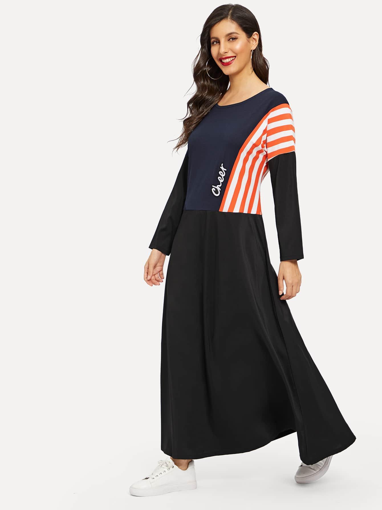 Полосатое длинное платье с заниженной линией плеч и текстовым принтом, Jeane, SheIn  - купить со скидкой