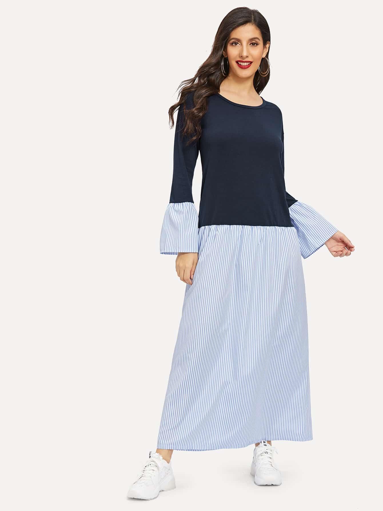 Купить Длинное платье в полоску с заниженной линией плеч и оборками на рукавах, Jeane, SheIn