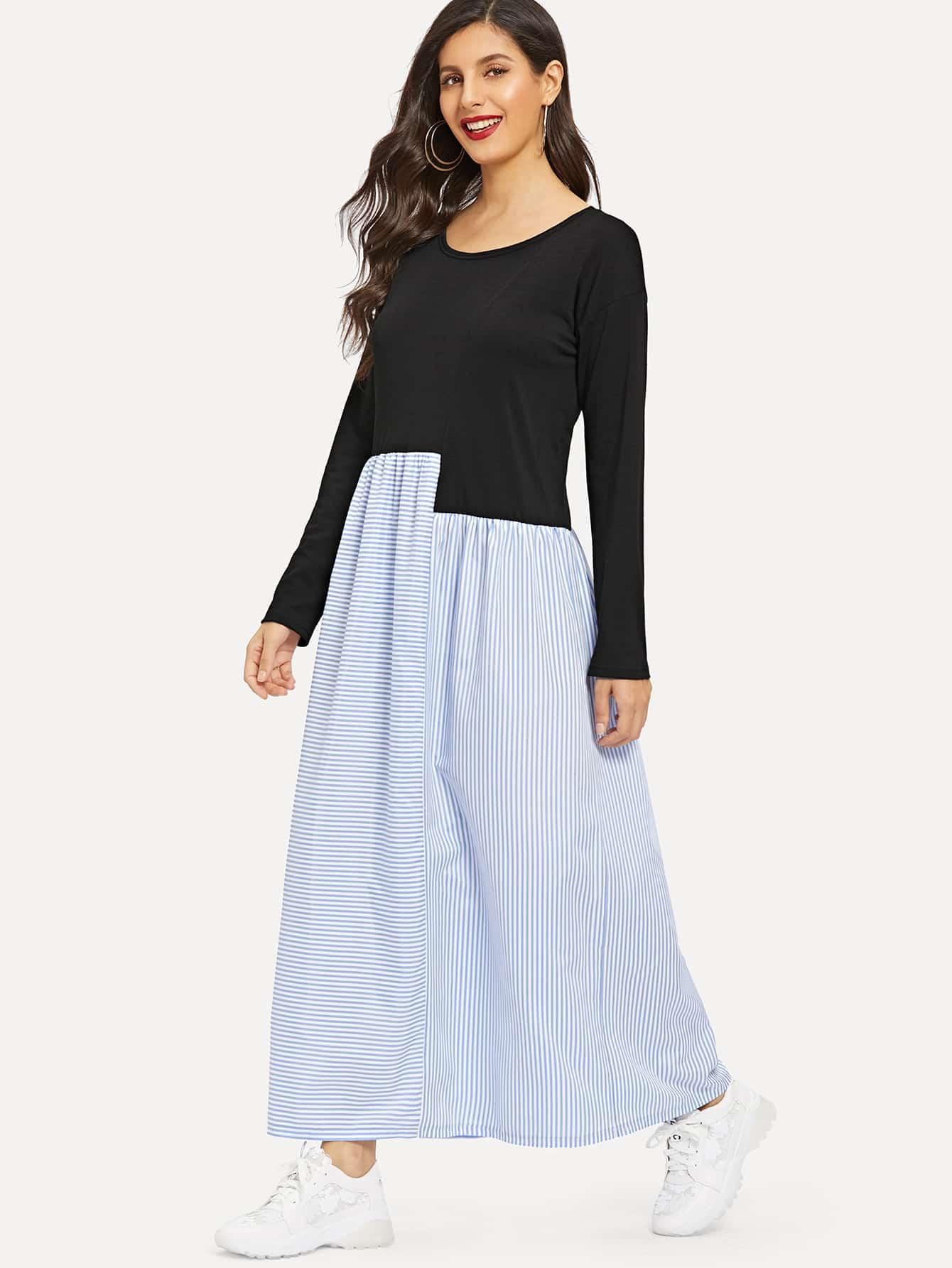 Купить Полосатое длинное платье с заниженной линией плеч, Jeane, SheIn