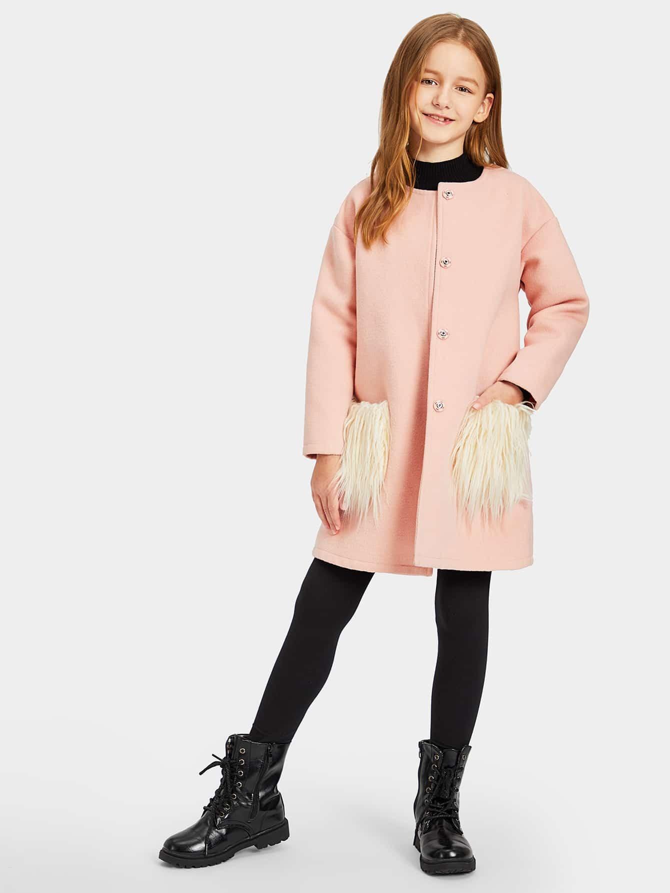 Купить Однобортное пальто с карманом искусственного меха для девочек, Sashab, SheIn