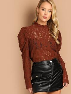 Frilled Neck Puff Sleeve Lace Top