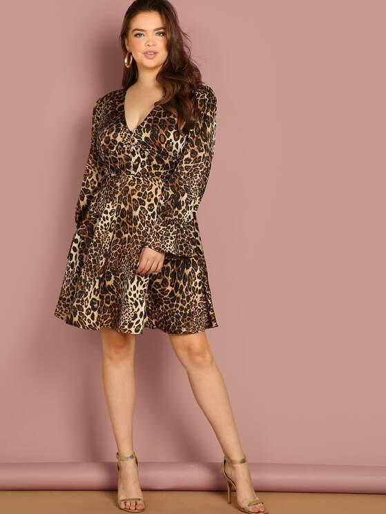 Plus Flounce Sleeve Button Detail Leopard Dress