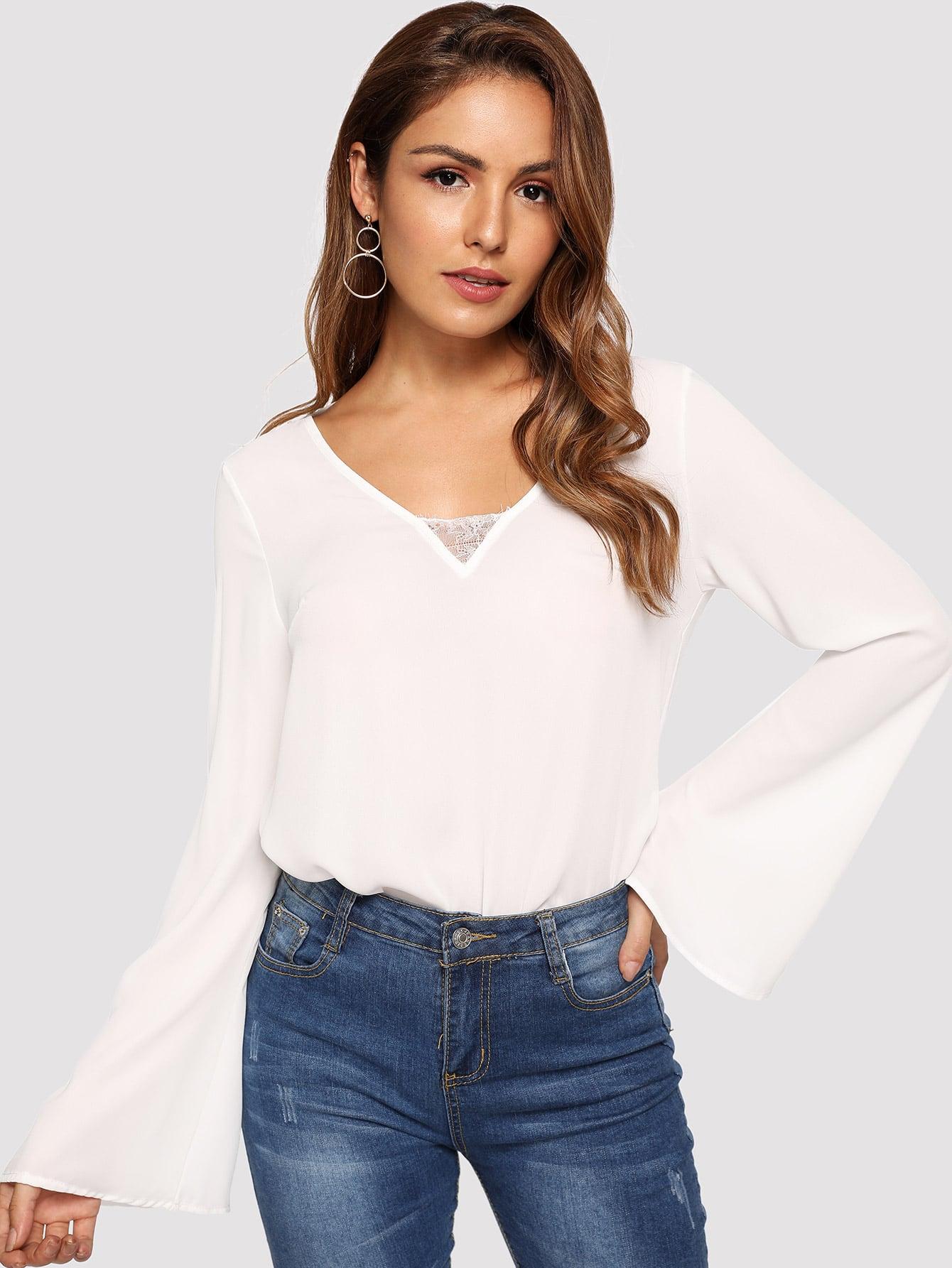 Купить Кружевой отделкой блузка с v-образным вырезом, Lisa, SheIn