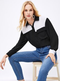 Flap Pocket Patched Two-tone Buttoned Shirt