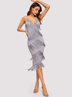 Layered Fringe Patched Fitted Cami Dress