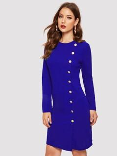 Button Embellished Zip Back Dress