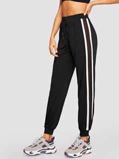 Mesh Insert Side Striped Sweatpants