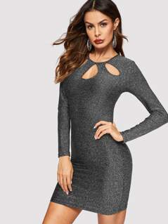 Cutout Neck Form Fitting Glitter Dress