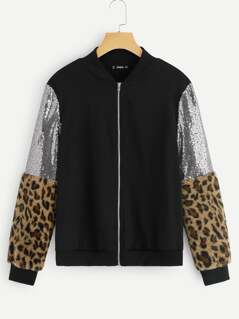 Contrast Sequin Leopard Sleeve Bomber Jacket
