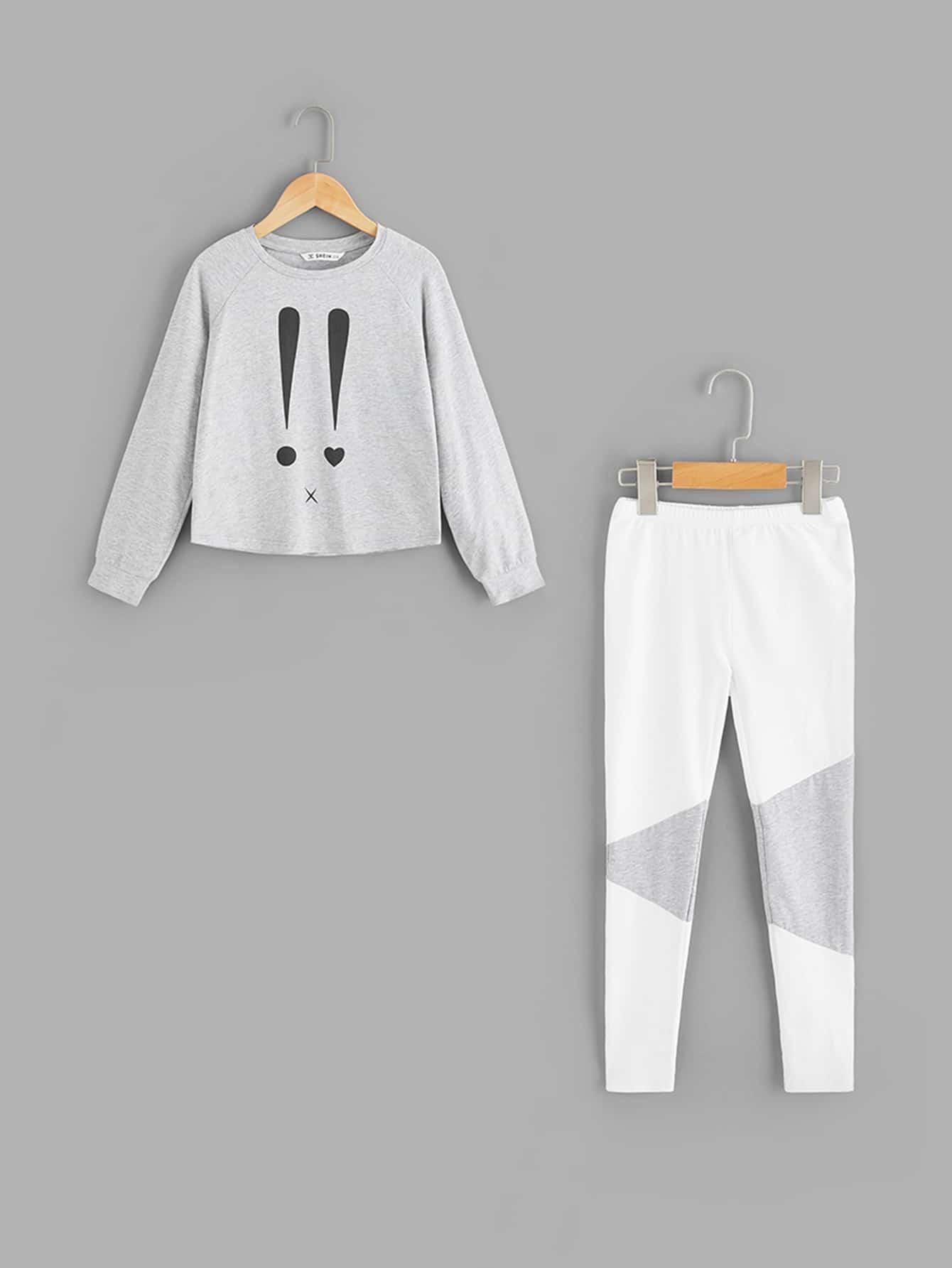 Пижамный комплект футболка с принтом и рукавами реглан и брюки от SheIn