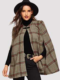 Buckle Closure Plaid Coat