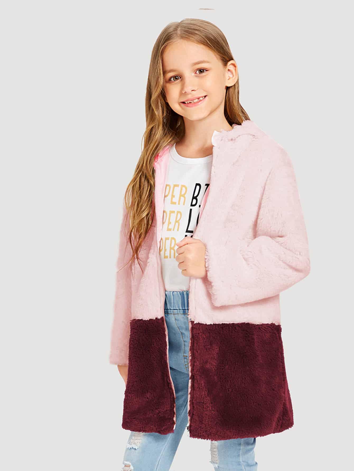 Купить Пушистое пальто на молнии с капюшоном для девочек, Sashab, SheIn