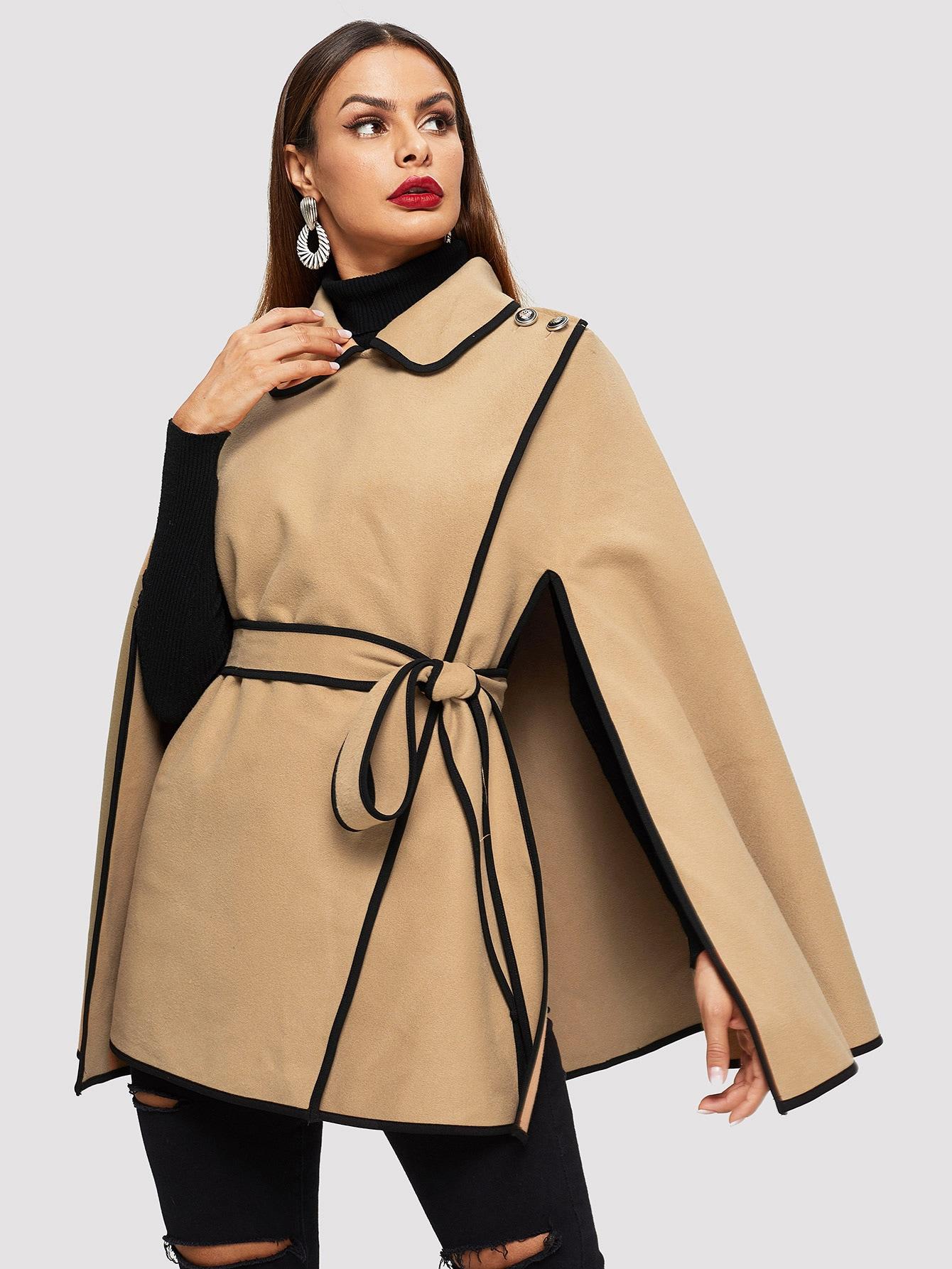 Купить Пальто-пончо с контрастной отделкой и пуговицами, Andy, SheIn