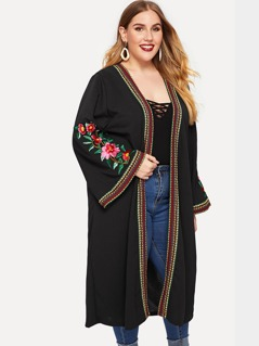 Plus Open Front Flower Embroidery Coats