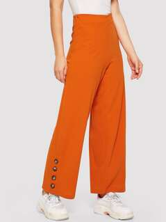 Button Detail Wide Leg Pants