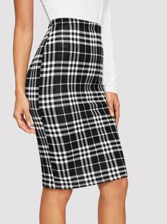 Slit Back Fitted Plaid Skirt