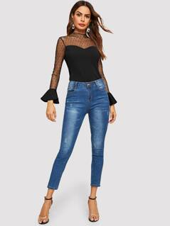 Mesh Yoke Flare Cuff Sweetheart Blouse