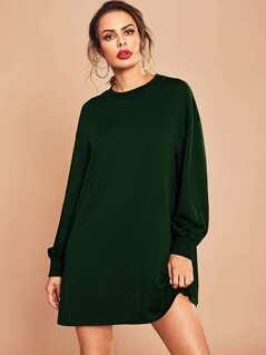 Drop Shoulder Solid Dress