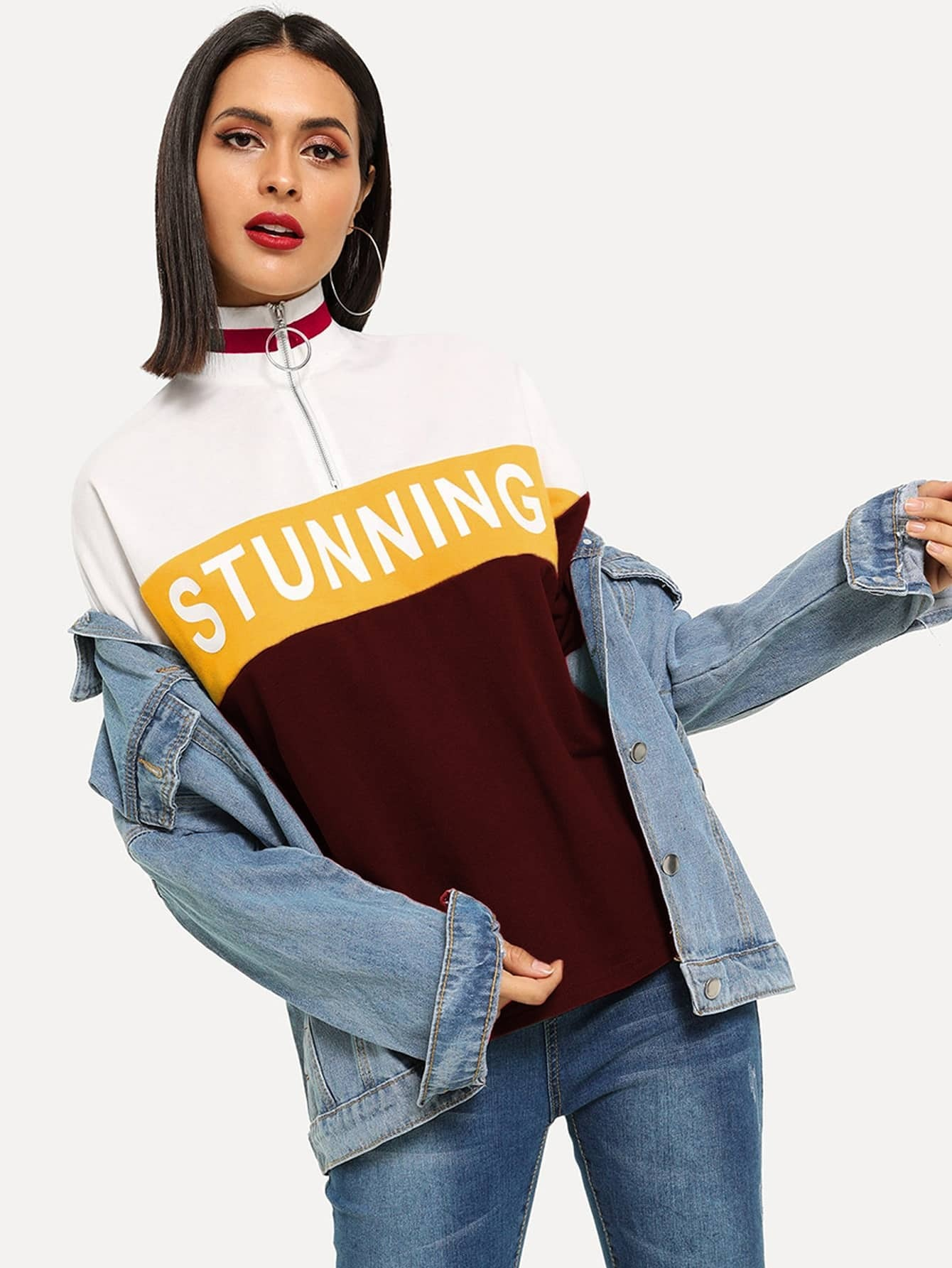 Купить Контрастная футболка с текстовым принтом и молнией с кольцом, Verob, SheIn