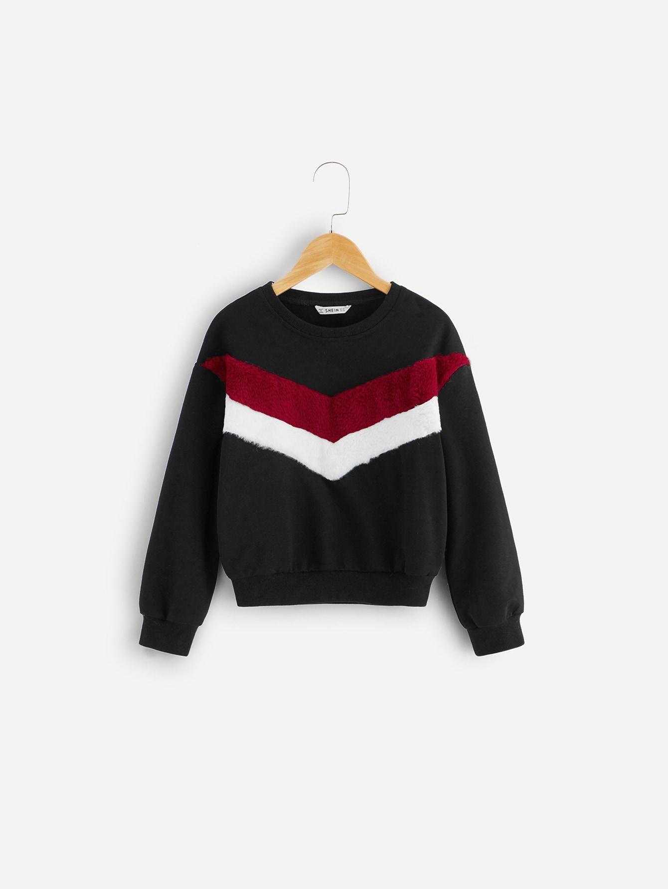 Купить Контрастный пуловер с узором шеврон из искусственного меха, null, SheIn