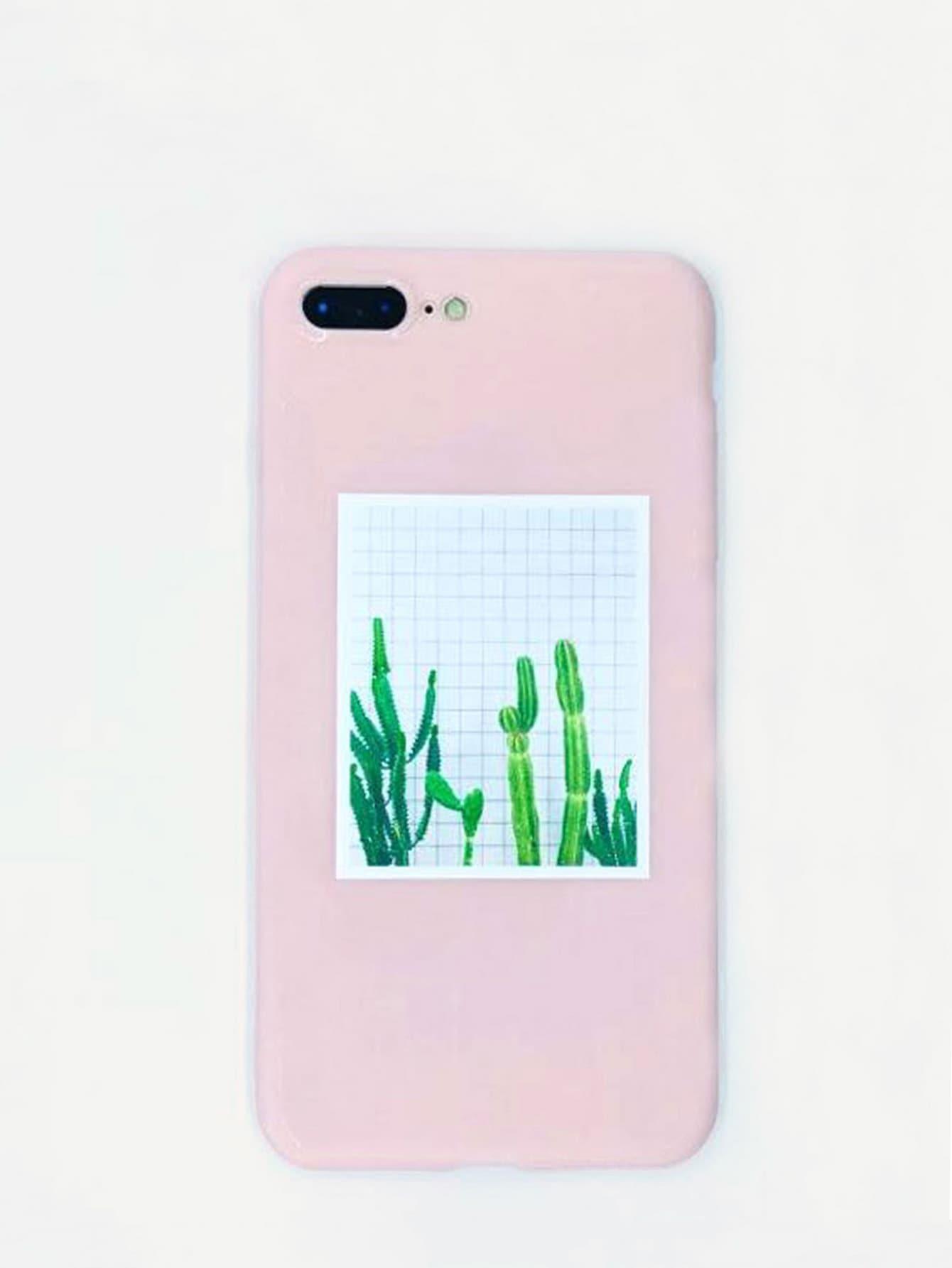Cactus Print iPhone Case, null, SheIn  - купить со скидкой