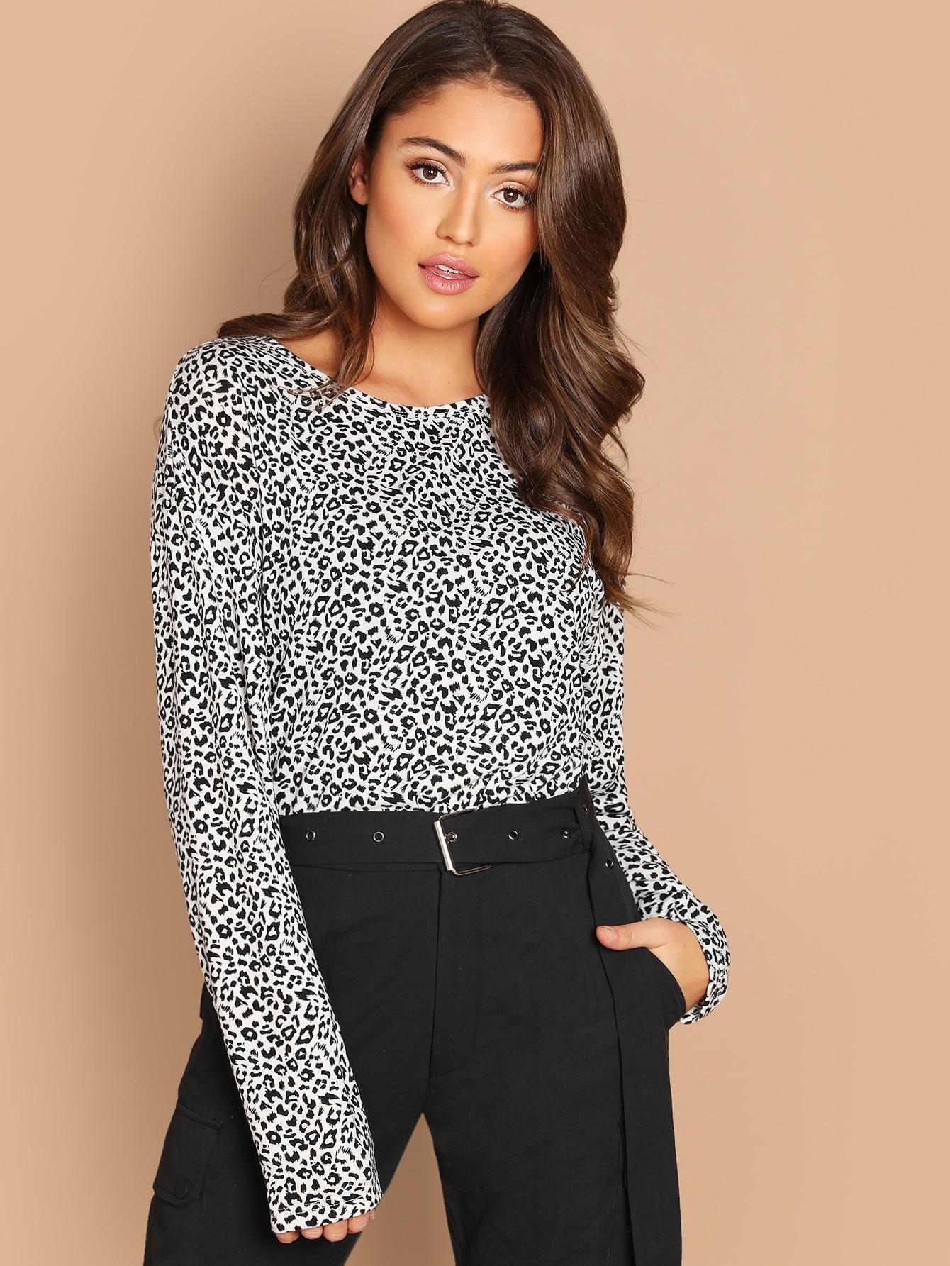 Купить Леопардовая длинная футболка, Clara Wilsey, SheIn