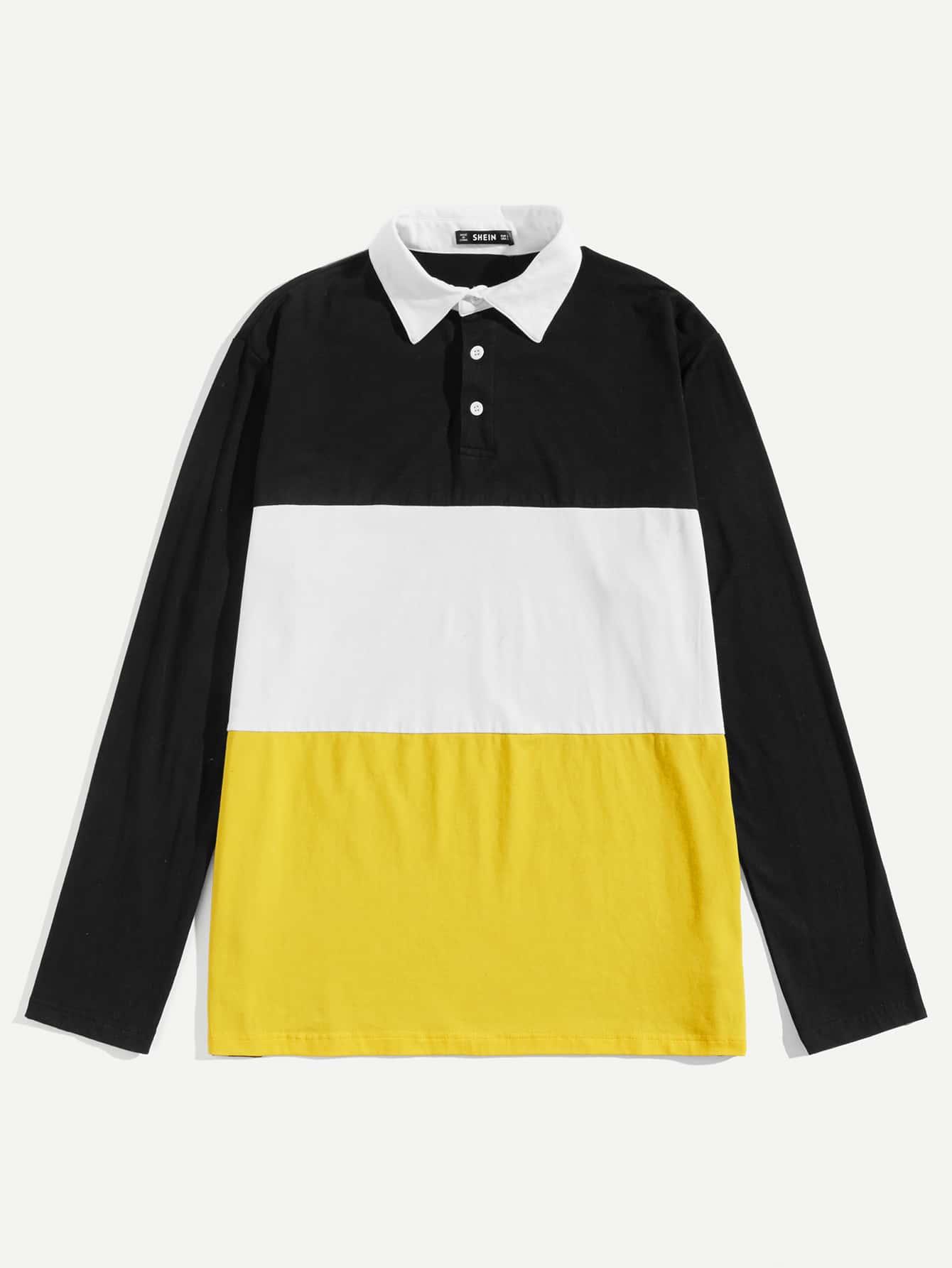 Купить Мужская контрастная рубашка-поло, null, SheIn