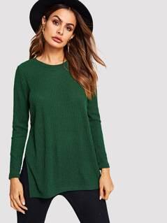 High Slit Side Rip-knit Dip Hem Tee