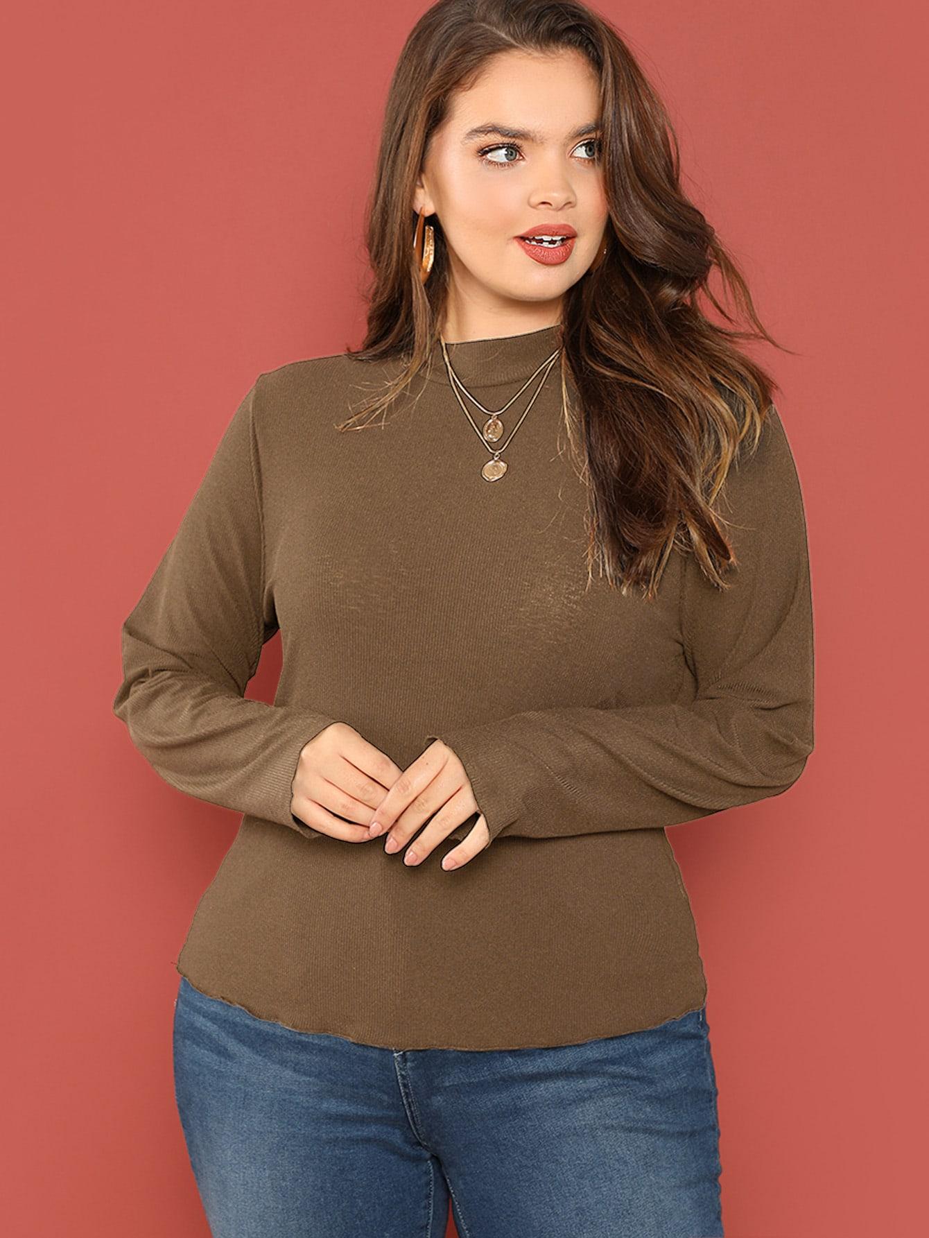Купить Размера плюс однотонная футболка со стоячим воротником, Faith Bowman, SheIn