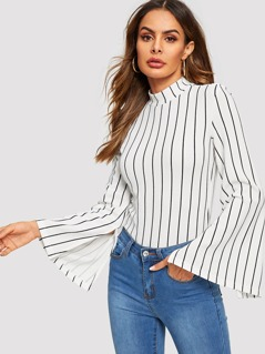 Mock Neck Bell Sleeve Striped Tee