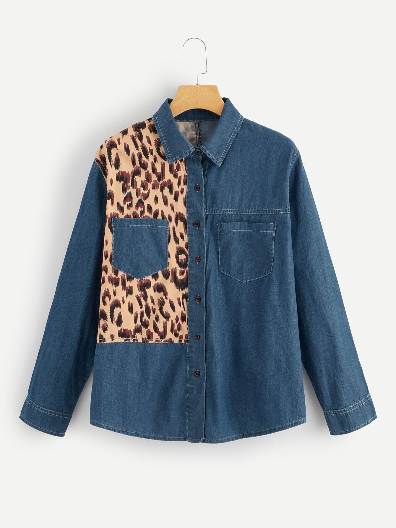 Купить Леопардовая джинсовая рубашка с карманом размера плюс, null, SheIn