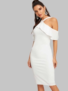 Open Shoulder Fitted Ruffle Dress