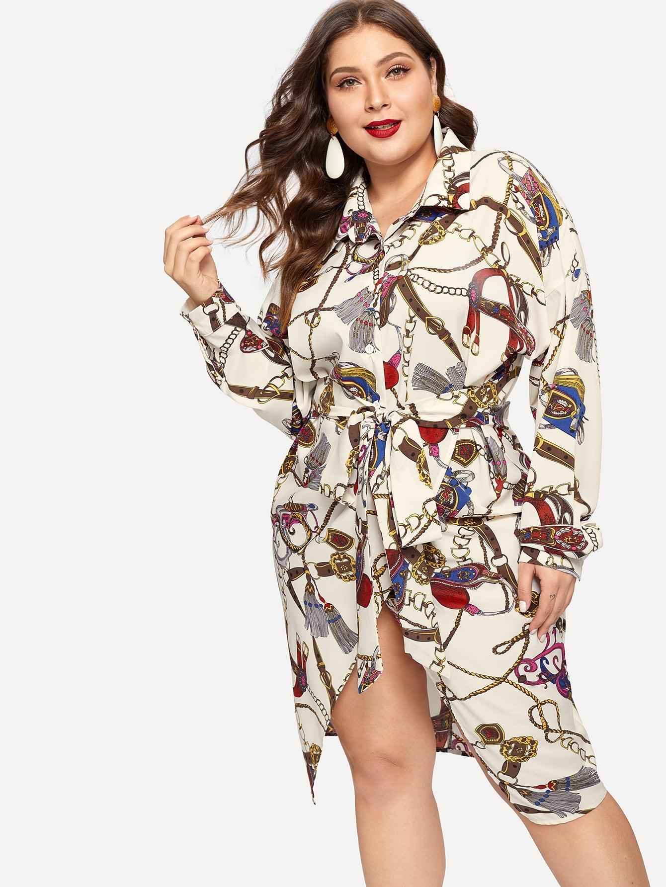 Купить Асимметричное платье с поясом и графическим принтом размера плюс, Carol, SheIn