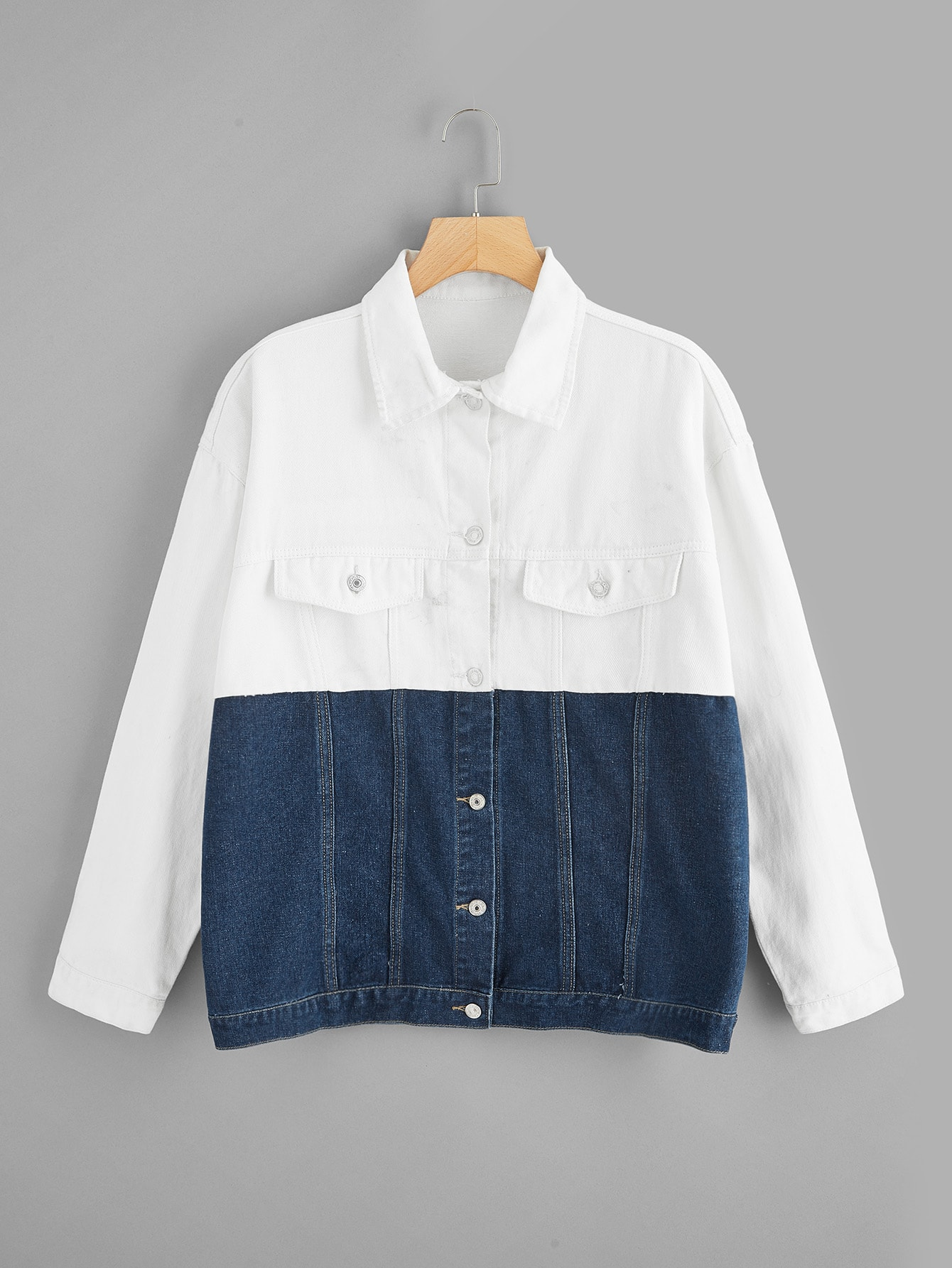 Купить Двухцветная куртка на пуговицах размера плюс, null, SheIn