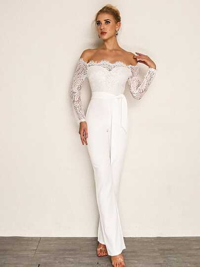 Joyfunear Eyelash Lace Overlay Self Belted Jumpsuit