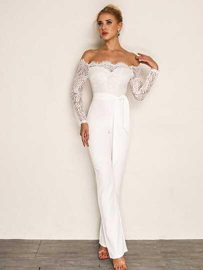 SheIn / Joyfunear Eyelash Lace Overlay Self Belted Jumpsuit