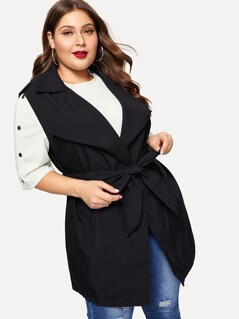 Plus Waterfall Collar Solid Vest