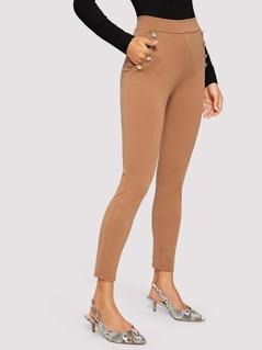 Slant Pocket Button Embellished Skinny Pants